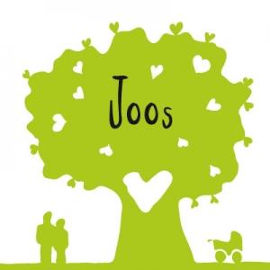 Geboortekaartje hartjesboom groen