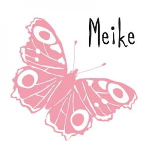 Geboortekaartje-roze-vlinder