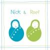 geboortekaartje Tweeling groen-blauw voor