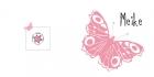 geboortekaartje Roze vlinder buiten